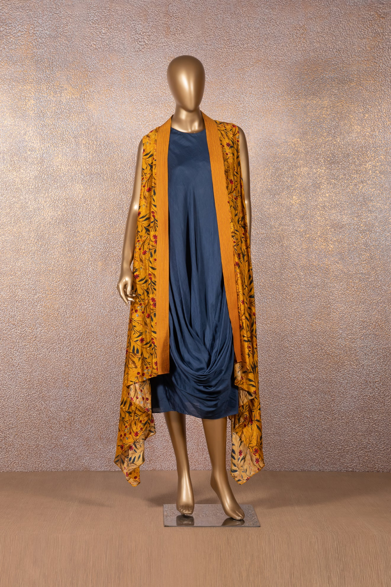 Blue Cowl Dress with Mustard Printed Jacket