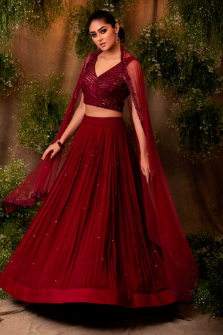 Wine Embroidered Lehenga Set