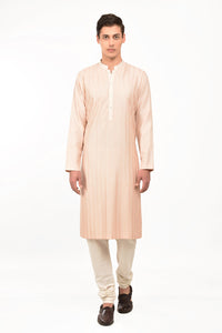 Feather Pink Embroidered Aina Cotton Silk Kurta Set