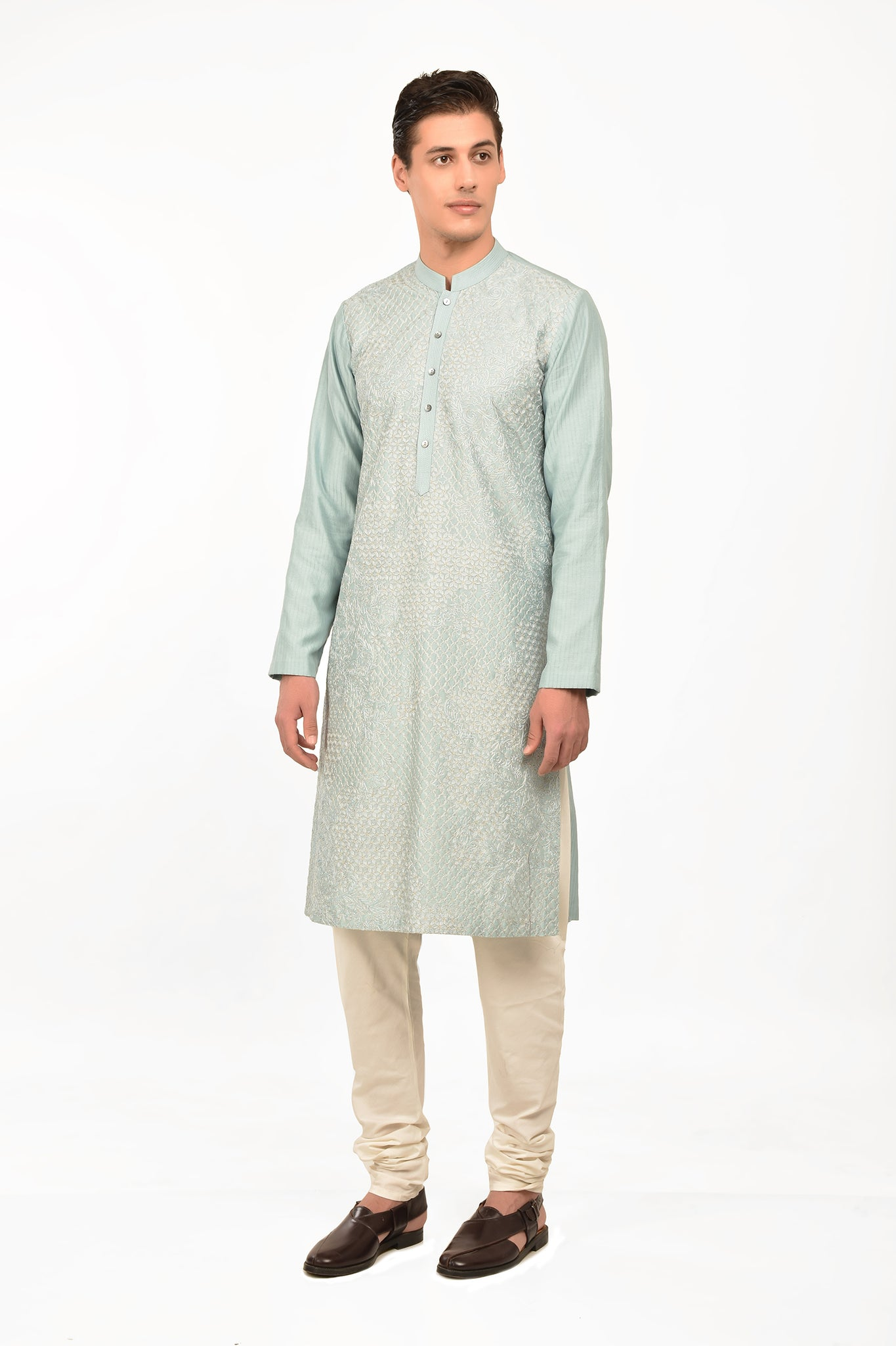 Aqua Embroidered Cotton Silk Nirwana Kurta Set