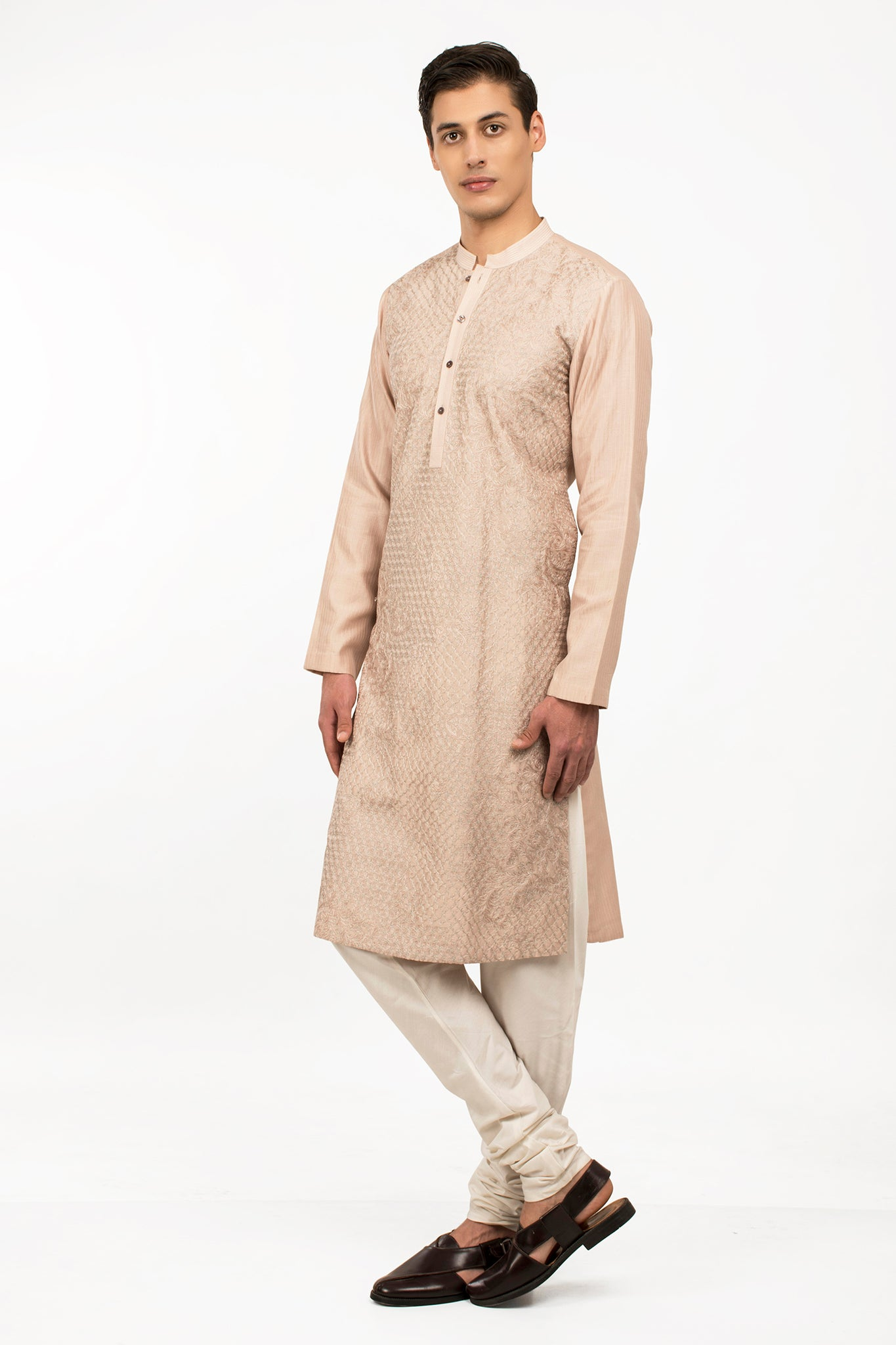 Old Rose Embroidered Cotton Silk Nirwana Kurta Set