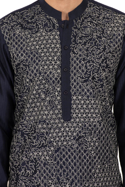 Black Embroidered Neemrana Cotton Silk Kurta Set