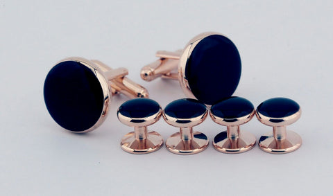 Navy-Rose Gold Metal Cufflinks (Set of 6)