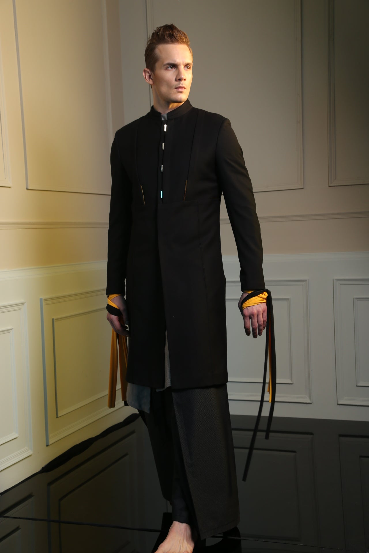 Black 6 Button Long Bandhgala Jacket