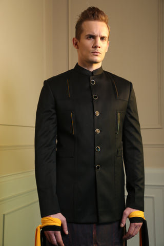 Black Classic Four Metal Bandhgala Jacket