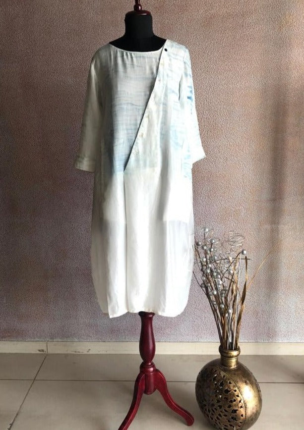 11 : 11 - Ivory Tunic With Cross Button Placket