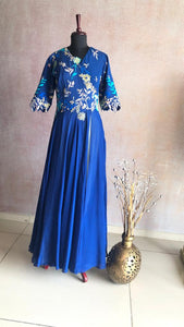 OSAA - Blue Gown With Embroidered Yoke & Sleeves