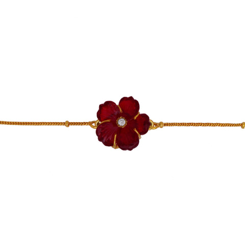 Red Carved Flower Brass Bracelet