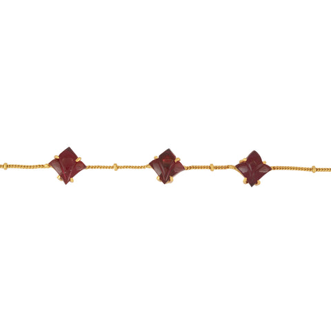 Red Tulip Brass Bracelet