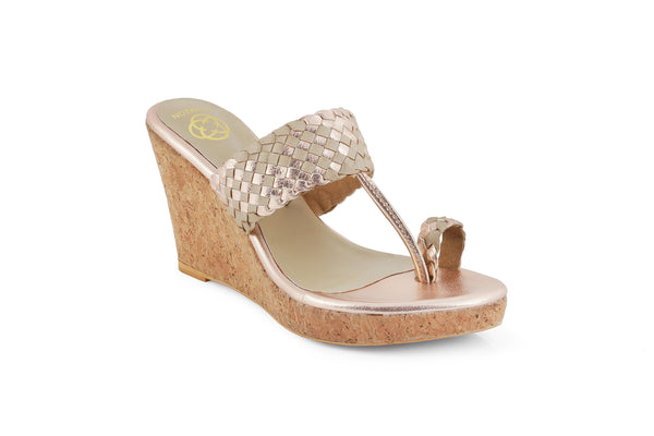 Rose Gold Chandni Kolhapuri Wedge Heels