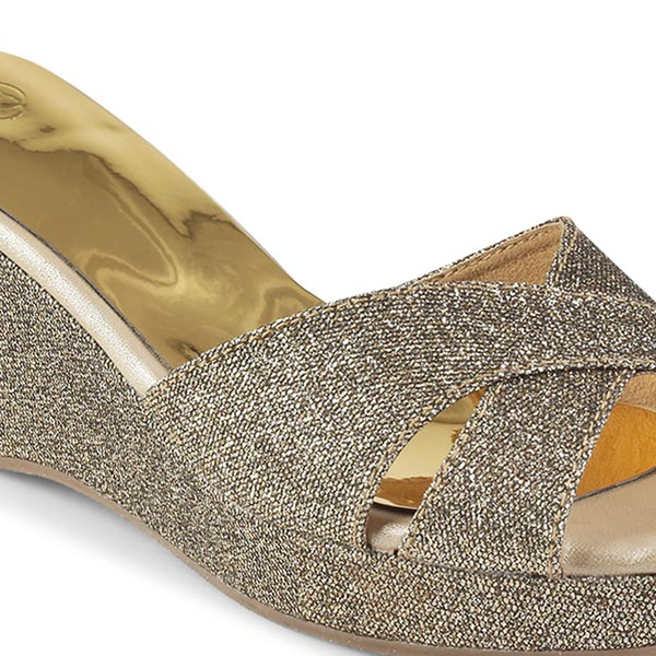 Antique Silver Wedge Heels With Glitter Cross Strap