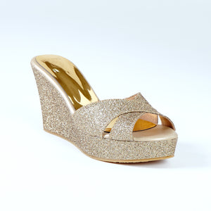 Antique Gold Wedge Heels With Glitter Cross Strap
