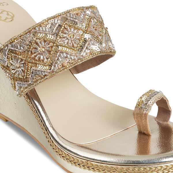 Gold Wedge Heels With Embellished Belt