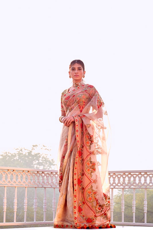 Beige Handloom Chanderi Organza Saree With Multi Color Aari Hand Embroidery & Embroidered Blouse
