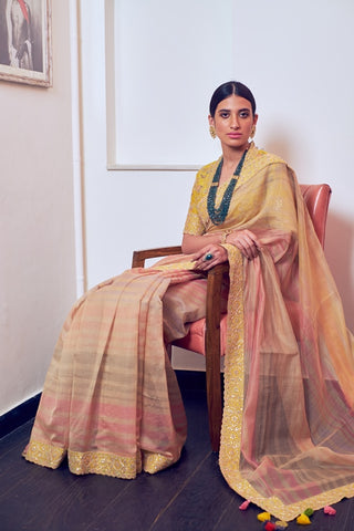 Beige Woven Chanderi Multi Color Dhari Embroidered Saree With Hand Embroidered Blouse