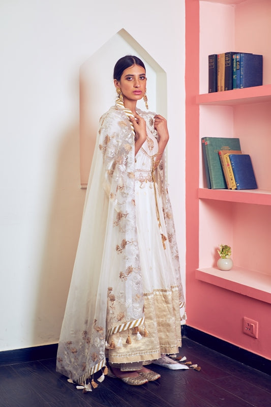 Ivory Handloom Chanderi Kurta With Gold Woven Boarder & Embroidered Pants With Organza Dupatta