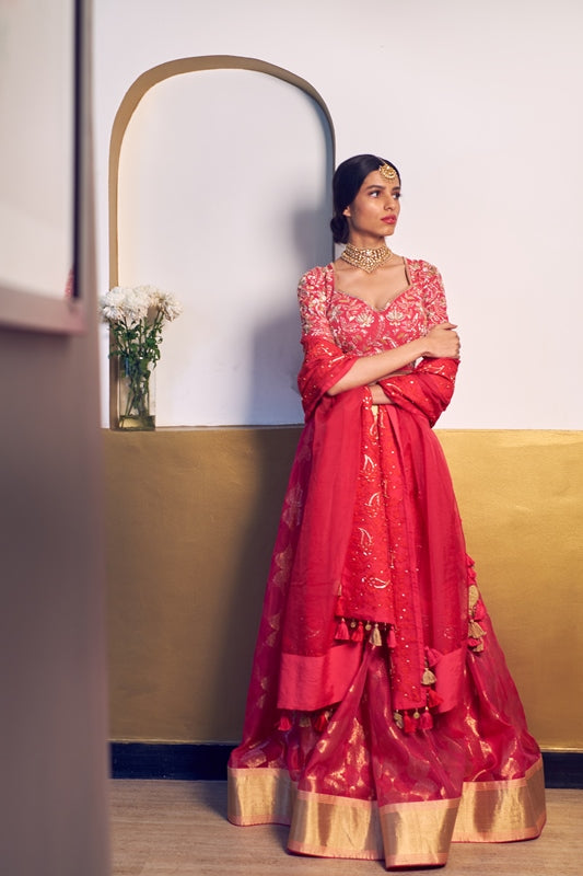 Fuchsia Woven Chanderi Scalap Lehenga With Embroidered Blouse & Organza Dupatta
