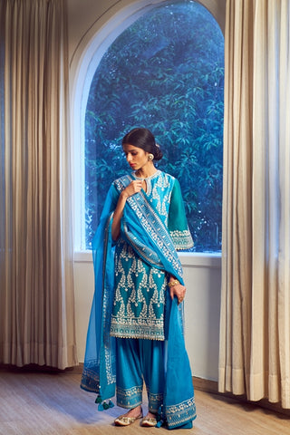 Firozi-Turquoise Aari Hand Embroidered Handloom Chanderi & Salwar With Organza Embroidered Dupatta