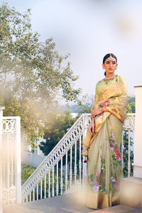 Mint Green Handloom Chanderi Organza Hand Painted Saree With Embroidered Blouse