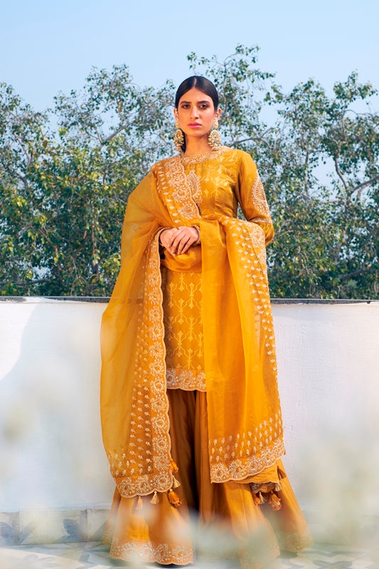 Mustard Handloom Chanderi Hand Embroidered Kurta With Embroidered Sharara & Organza Dupatta