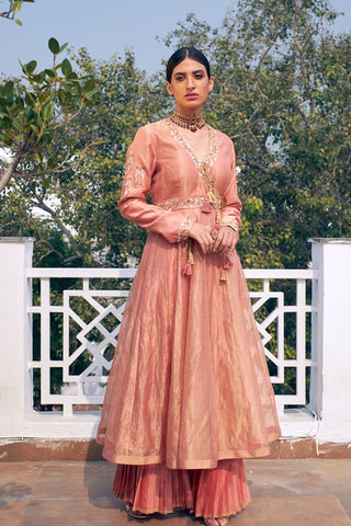 Old Rose Woven Dhari Handloom Chanderi Kurta With Organza Dupatta & Pleated Sharara