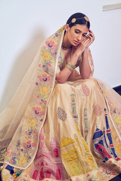 Beige Handloom Chanderi Multi Color Embroidered Lehenga With Hand Embroidered Blouse & Organza Dupatta
