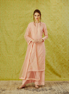 Peach Gota Embroidered Kurta with Trouser and Dupatta