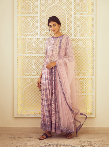 Light Pink Block Printed Kurta with Dupatta and Trouser