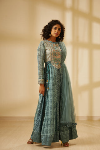 Blue Block Printed Long Kurta with Dupatta and Trouser