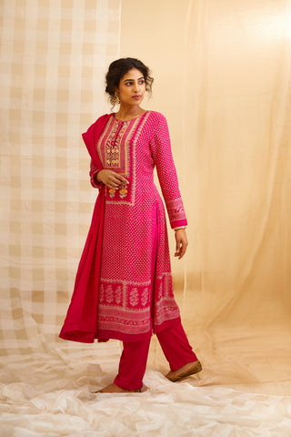Pink Block Printed Kurta with Trouser and Dupatta