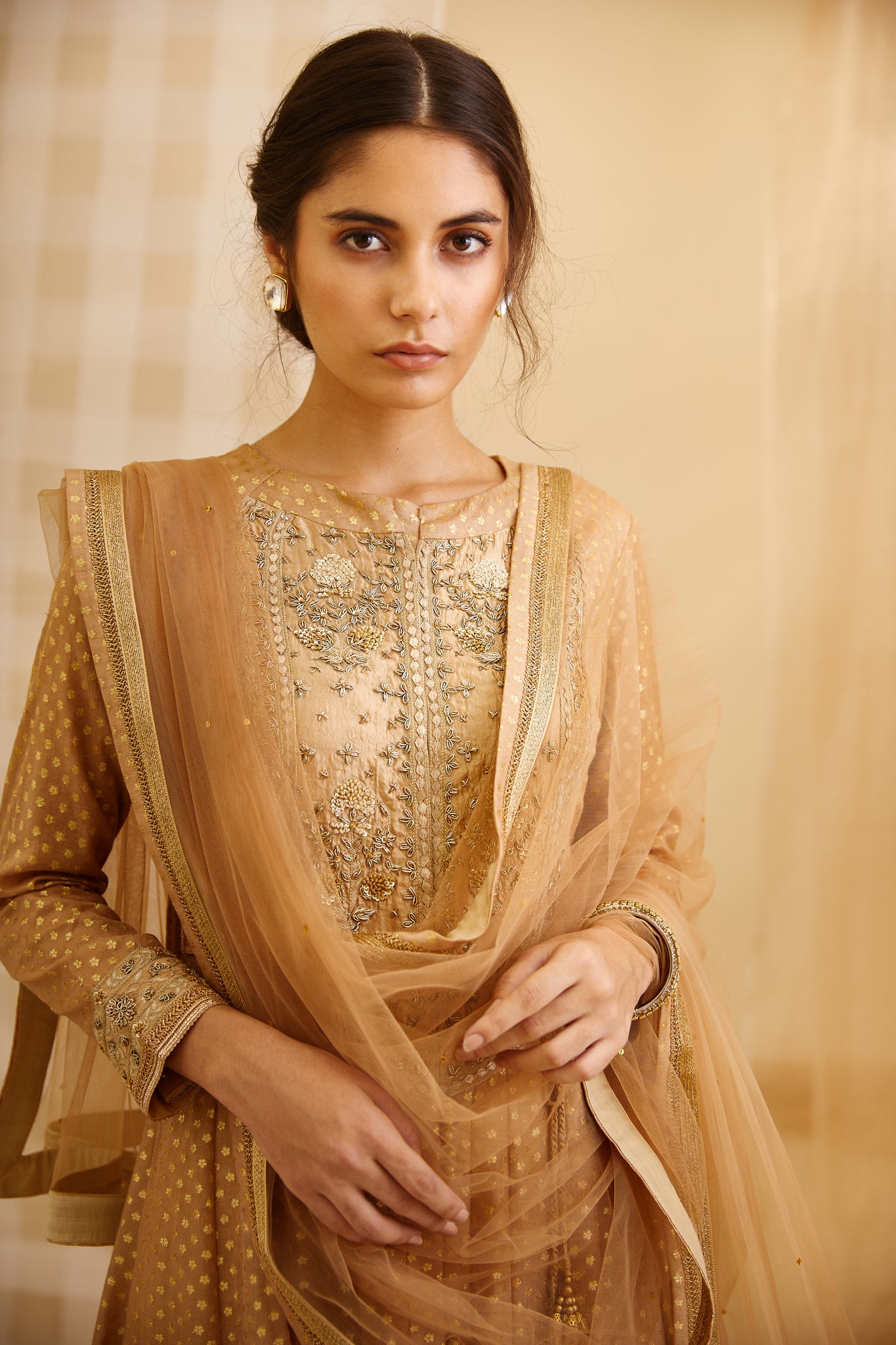 Gold Embroidered Long Kurta with Dupatta and Trouser