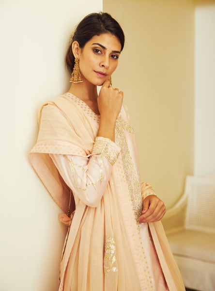 Light Pink Gota Embroidered Kurta with Dupatta and Skirt