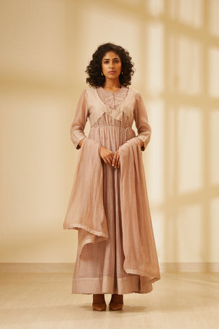Old Rose Pink Thread Embroidered Chanderi Angrakha with Top Trouser and Dupatta
