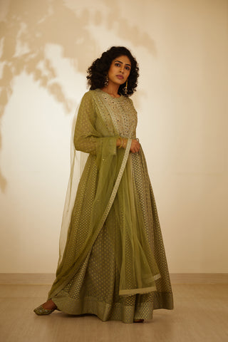 Neutral Green Zardozi Embroidered Long kurta with Dupatta and Trouser