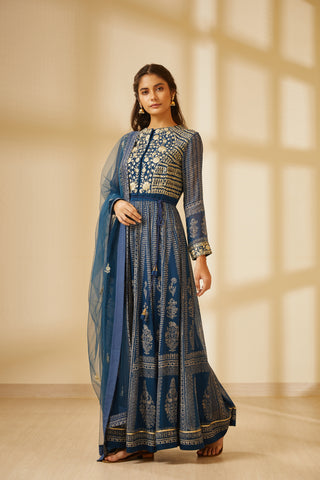 Navy Blue Block Printed Long Kurta with Dupatta and Trouser