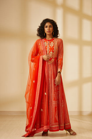 Orange Block Printed Long Kurta with Dupatta and Trouser