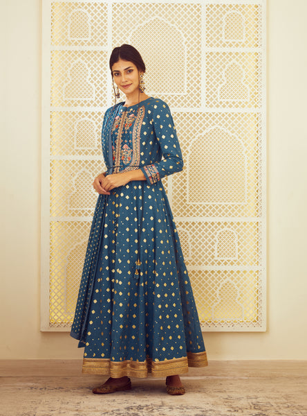 Teal Blue Embroidered Long Kurta with Dupatta and Trouser