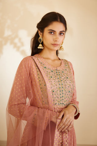 Neutral Pink Zardozi Embroidered Long Kurta with Dupatta and Trouser