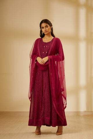 Wine Thread Embroidered Long Kurta with Dupatta and Trouser