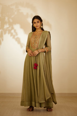 Neutral Green Thread Embroidered Long Kurta with Dupatta and Trouser