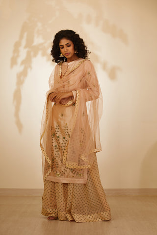 Beige Coloured Zardozi Embroidered Kurta with Skirt and Dupatta