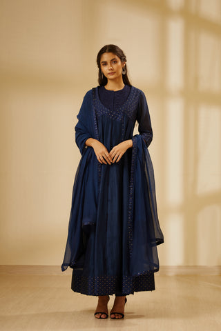 Navy Blue Thread Embroidered Chanderi Angrakha with Top Trouser and Dupatta