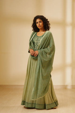 Green Block Printed Long Kurta with Dupatta and Trouser