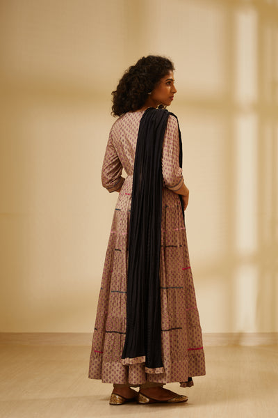 Neutral Block Printed Multi Tiered Long Kurta with Dupatta and Trouser