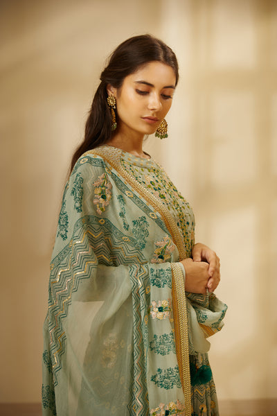 Light Sea Green Block Printed Gota Embroidered Long Kurta with Dupatta and Trouser