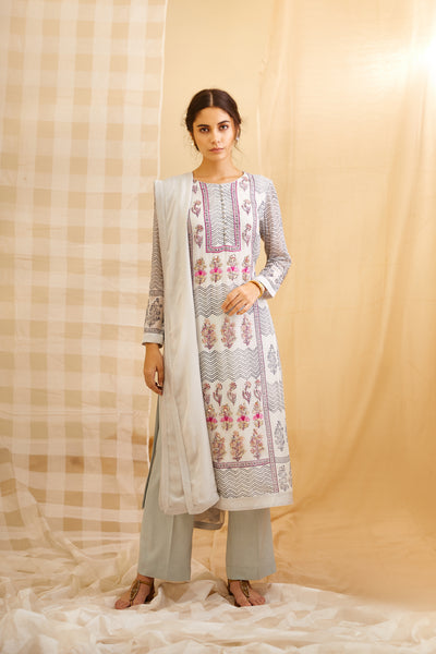 Silver Gray Block Printed Kurta with Trouser and Dupatta