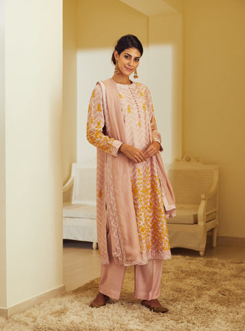 Powder Pink Thread Embroidered Block Printed Straight Kurta with Dupatta and Trouser