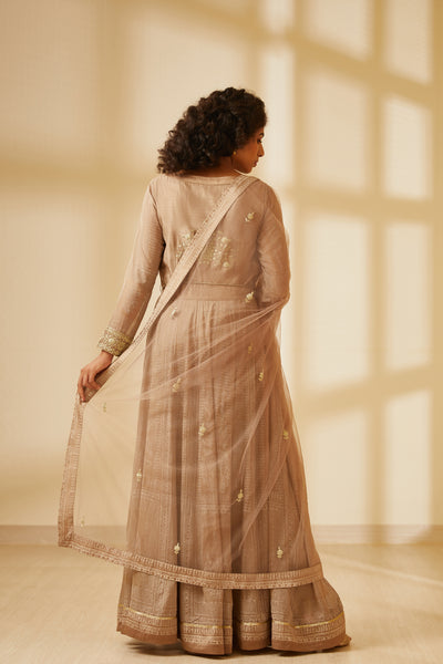 Neutral Block Printed Long Kurta with Dupatta and Trouser