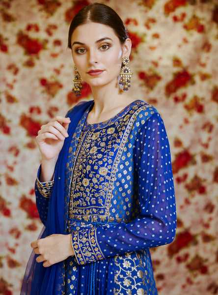 Royal Blue Embroidered Long Kurta with Dupatta and Trouser