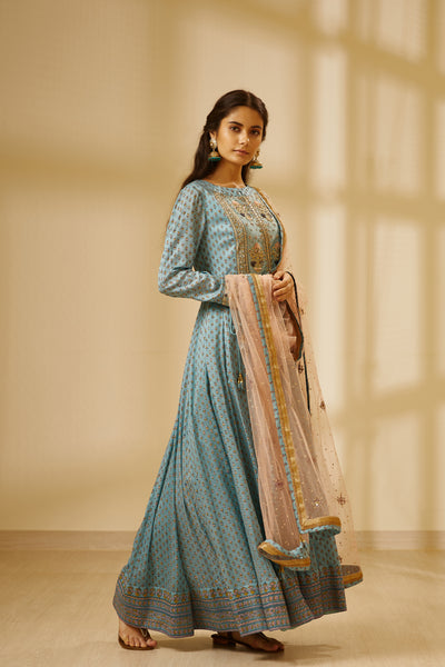 Sea Blue Block Printed Long Kurta with Embroidered Dupatta and Trouser